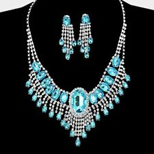 ELEGANT PROM BRIDAL FRINGED RHINESTONE CRYSTAL STATEMENT NECKLACE & EARRING SET
