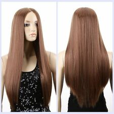 Fashion Women Sexy ladies Medium long Brown Straight Natural Hair wigs / wig cap