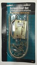 New Screen Door Set w/ Handle Spring 2 Hinges Hook & Eye Screw Zinc Dichromate