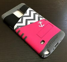 For Samsung Galaxy Note 4 -HARD&SOFT RUBBER HYBRID CASE PINK GRAY CHEVRON ANCHOR