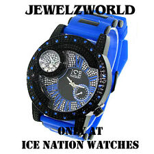 MENS ICED OUT BLUE/BLACK ICE NATION HIP HOP WATCH WITH SILICONE BULLET BAND