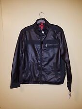 Alfani Red Mens Coat Jacket Faux Leather Baseball Size XL NEW With Tags