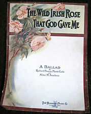 Vintage Sheet Music THE WILD IRISH ROSE THAT GOD GAVE ME Pascoe Sanders 1914