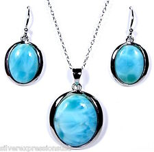 Genuine AAA Dominican Larimar 925 Sterling Silver Necklace & Earrings Set
