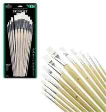 12 FLAT STIFF WHITE TAKLON LONG HANDLE ARTIST PAINT BRUSH SET RSET-9605