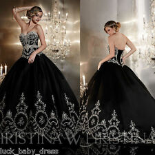 Perfect Embroidery Black Wedding Dress Prom Party Ball Gown Quinceanera Dresses