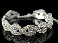 Fashion Women Crystal Silver Rhinestone Inifity Stretch Bracelet Bling Bangle