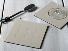 Set of 4 STONE GREY SQUARE EMBOSSED Leatherboard COASTERS
