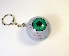 GREEN EYE BALL Keychain Key Ring Vintage Taiwan JET BALL Gravity Novelty Floater
