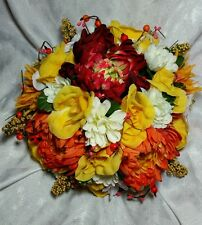 Orange, yellow and red wedding flowers 24pc set. Round bouquet