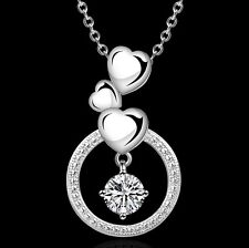 "18"" Silver Swarovski Element Crystal Heart Infinity Pendant Necklace Gift Box F9"