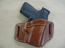 Ruger SR9c Compact OWB Leather 2 Slot Molded Pancake Belt Holster CCW TAN RH