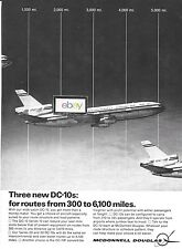MCDONNELL DOUGLAS AIRCRAFT 1971 THREE NEW DC-10'S FROM 300 TO 6,100 MILES AD