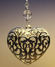 Christmas Tree Ornament Decoration Shiny Silver Heart with Swarovski Crystal