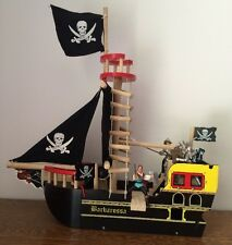 Le Toy Barbarossa Pirate Ship Black Wood Wooden Toy