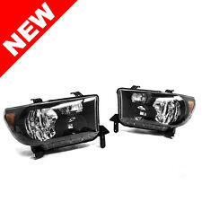 Black 2007-2013 Toyota Tundra 2008-2016 Sequoia Headlights Headlamps Left+Right