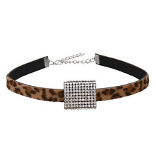 New Fashion Leopard Leather Choker Necklace Women Vintage Crystal Collar Pendant