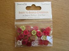 Dovecraft 'Back to Basics' Small Round/Flower Buttons (60PCS) TRAD CHRISTMAS