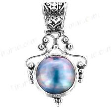 "1 5/8"" LUSTEROUS BLUE MABE PEARL 925 STERLING SILVER pendant"