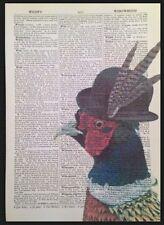 Pheasant Vintage Dictionary Page Imprimé Art Mural Image Excentrique Animal