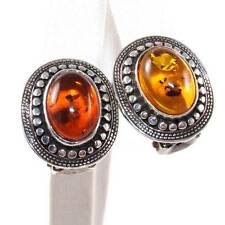Vintage Sterling Silver Orange Amber Dot Cable Clip On Stud Earrings