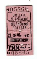 BIGLIETTO FERROVIARIO EDMONSON  F.N.M. FERROVIE NORD MILANO  BOLLATE  9-10-59