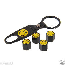 Smile Car Air Wheel Black Tyre Valve Dust Caps Covers Spanner Keying Set x 4