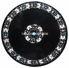 """15"""" Black Marble Center Coffee Table Top Marquetry Inlay Work Furniture Decor"""