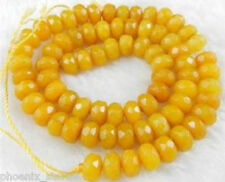 """Faceted 5X8mm Natural Yellow Jade Abacus Gemstone Loose Beads 15"""""""