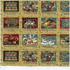 12 Days Of Christmas Panels  100% Cotton Quilting Fabric 78 Panels FREE POSTAGE