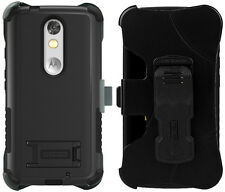BLACK TRI-SHIELD RUGGED CASE BELT CLIP HOLSTER STAND FOR MOTOROLA DROID TURBO 2