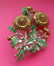 By Exquisite Vintage Hand Painted Enamel BROOCH Chrysanthemums Flower Of The Mon