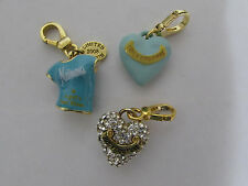 Juicy couture charm neiman marcus t shirt pave puff heart blue heart set of 3