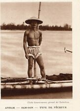 VIET NAM SAM SON TYPE DE PECHEUR IMAGE 1939 FISHER MAN OLD PRINT