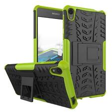 Shockproof Slim Rugged Hybrid Rubber Cover Case + Tempered Glass Film For Sony