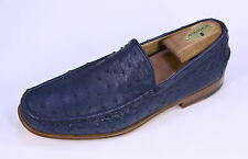 NIB New * KITON * $2300 Navy Blue Ostrich Slip-On Loafers Shoes Men's US 8