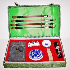 Vintage Japanese Calligraphy Art writing set with seal stamp