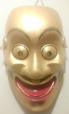 JAPANESE THEATRE MASK NOH ONI MASK GOLD OH-TOBIDE, HAND CARVED, SOLID WOOD MASK