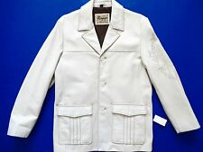 New Rogue by Reilly Olmes Vintage Worn Dirty Off White Leather Jacket SLIM  XL