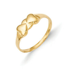 14K Yellow Gold Polished Double Heart Baby Ring Size 3 Madi K Children's Jewelry