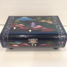 Vintage Japanese Black Enamel Jewelry Box-Abalone-Musical--Hand Painted