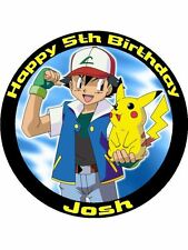 """Pokemon Personalised 7.5"""" Birthday Cake Topper on Icing"""