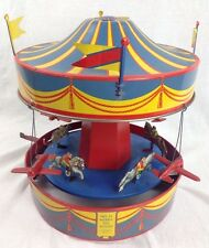Vintage 1930s Wolverine #31 Merry-Go Round Tin Windup Toy Carousel Lithograph