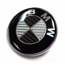 Black/Silver Genuin 82mm BMW Carbon Fibre Boot Bonnet Badge Emblem 1 3 5 6 7 X Z