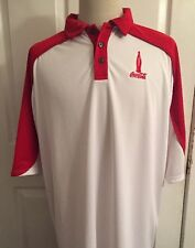 COCA-COLA Jersey Polo Shirt Short Sleeve Men' Size XL Red White Russell Athletic