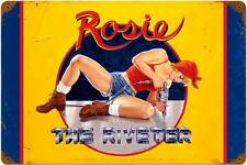 Rosie The Riveter Pin Up Girl Vintage Distress Metal Sign Home Wall Decor HB005