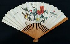Vintage Antique Wood & Paper Fan Chinese Flowers & Bird