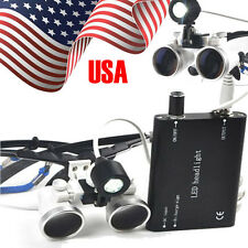 USA warehouse Dental Surgical Binocular Optical Loupes3.5X420mm+LED Head Lamp A+