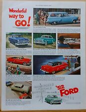 1952 magazine ad for Ford - color photos of 1952 Fords, Wonderful Way to Go!