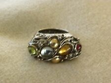 LARGE GENUINE PERIDOT, CITRINE, TOPAZ,  & STERLING SILVER COCKTAIL RING SIZE 8